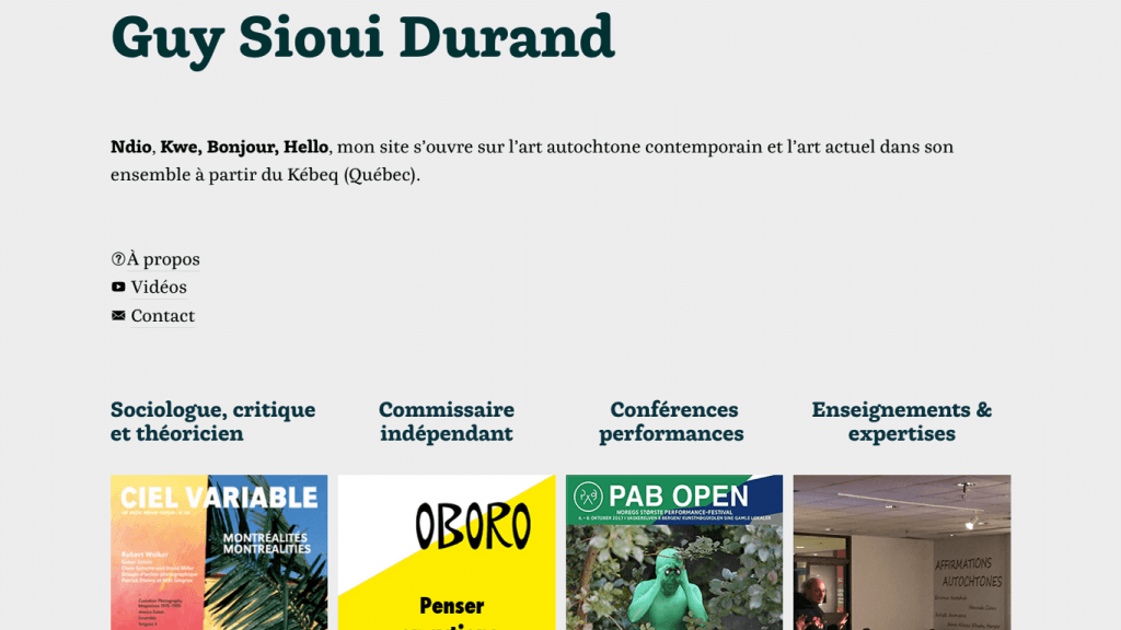 Site Internet de Guy Sioui Durand