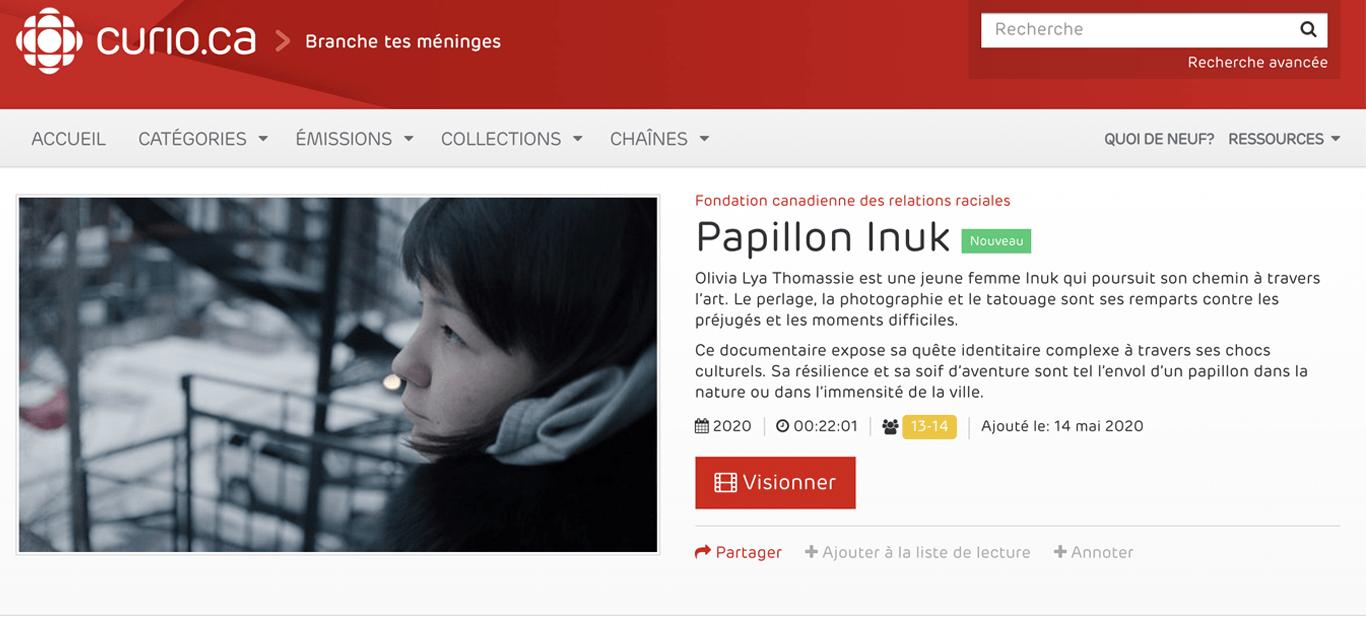 Papillon Inuk à Radio-Canada